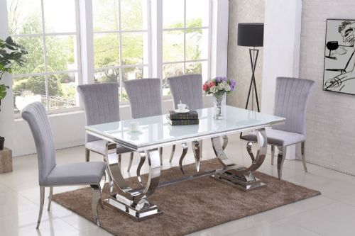 GA Romano White Dining Table &  4,  6, 8 Grey  Chairs